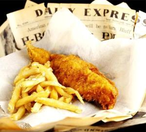 Fish & chips wrapped in a Daily Express newspaper